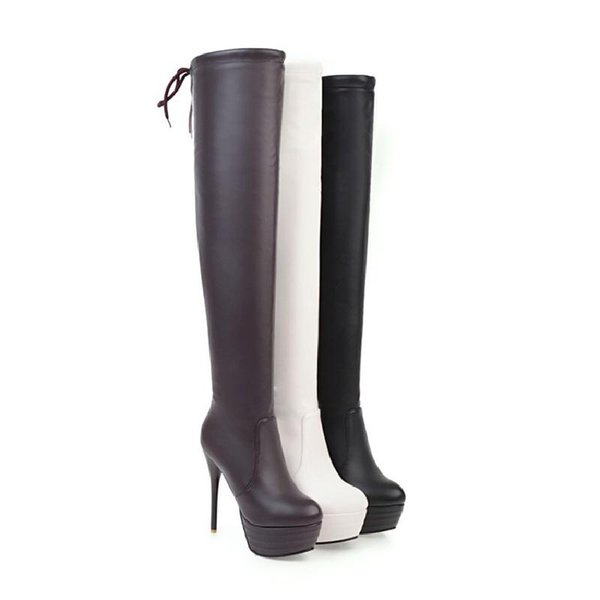 Autumn/winter Leather Women Long Boots Stiletto Heel Round Toe Martin Boots Platform Sexy Thin Legs Over-the-knee Boots Plus Size 34-43