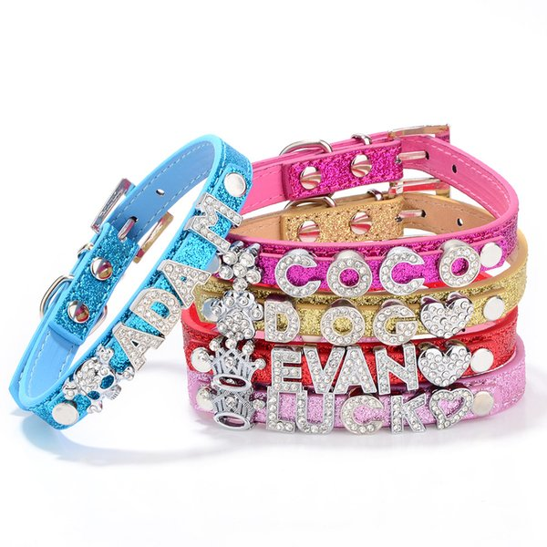 top popular Big Sale 50% off! Mix 5colors&4sizes!Croc Pu leather Personalized DIY Name Charm Dog Pet Collar Pet Supplies(Price exclude sliders) 2020