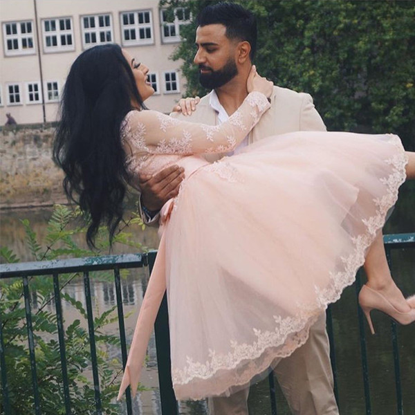 Cute Pink Princess Short Prom Dresses Scoop Neck Long Sleeves Appliques Lace Tulle Tea Length Fall Style Party Dresses Saudi Arabic