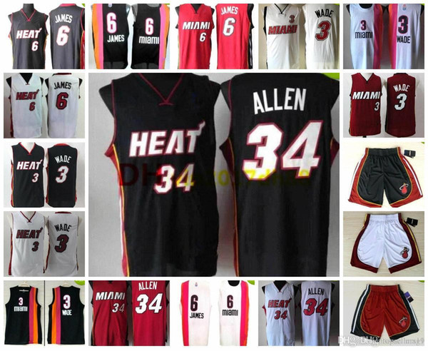 best sneakers 98149 99987 2018 Top Basketball Miami,Jersey Men Youth Women Heat,3 Dwyane Wade,6  Lebron James,34 Ray Allen,Throwback Retro,Shorts Brand Logo Size S XXL From  ...