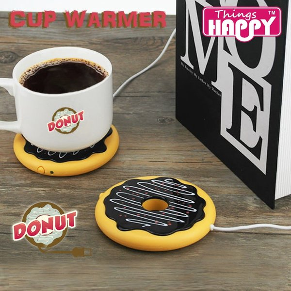 Newest Creative Giant Donut USB Cup warmer,Cute Hot Cookie Mug Warmer Coaster Office Tea Coffee Beverage USB powered Heater Biscuit Tray Pad