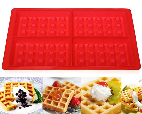4 Cavities Waffles Cake Chocolate Pan Baking Silicone Mold Cooking Tools Kitchen Accessories Easy and Safe to Administer New +B