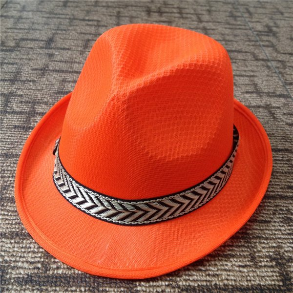 Summer Autumn Jazz Caps Hats for Women Men Fashion Waterproof Polyester Fedora Hats with Belt Outdoor Sunhat Unisex GH-221
