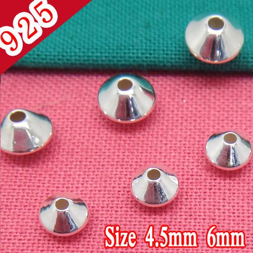 Wholesale-Min 50piece,925 Sterling Silver Rhodium Plated Bead Jewelry Connectors fit for 4.5mm or 6mm Leather Cords