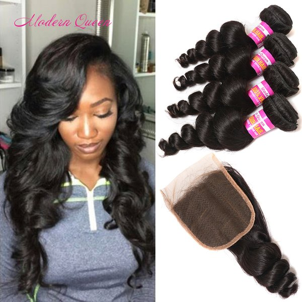 7a Mink Brazilian Loose Curls Hair 4 Bundles With Closure Human Hair