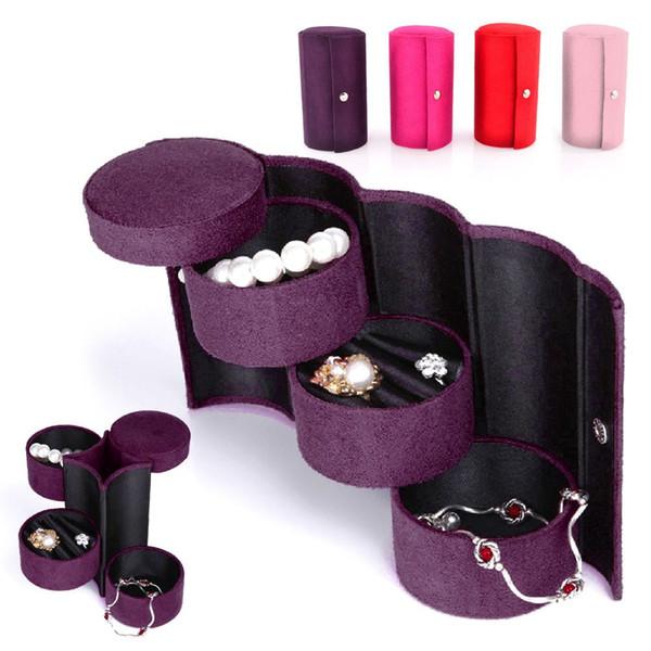Organizador de jóias Elegante Retro Viagem De Três Camadas Roll-up Snap Titular De Armazenamento Caixa De Jóias De Veludo Embalagem de Exibição caixa de jóias