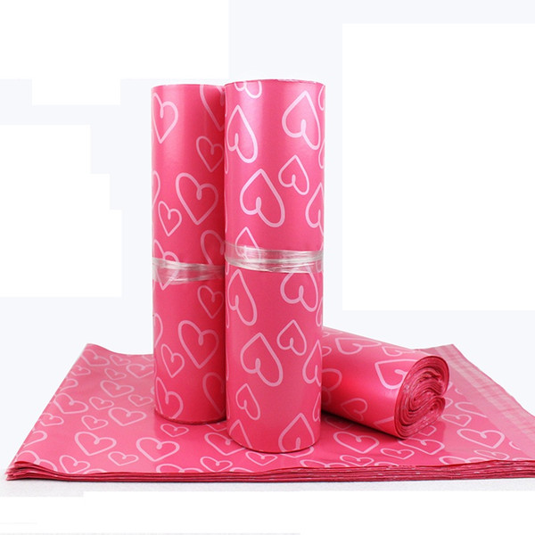 28*42cm Pink Heart pattern Plastic Post Mail Bags Poly Mailer Self Sealing Mailer Packaging Envelope Courier express bag LZ0736
