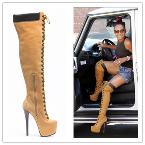 Promotion!!!2016 High Quality Over The Knee High Winter Women Boots Sexy Thin High Heel Zipper Tan Color Lace Up Shoes Woman Platform Boots