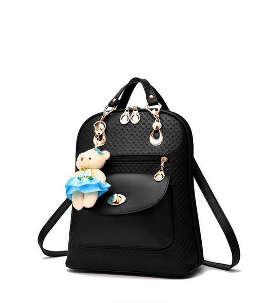 Lady style Backpacks designer 2017 fashion women mini bear doll rucksack bag PU leather backpack for women
