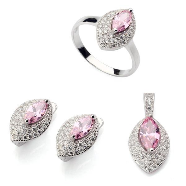 Copper Rhodium Plated Cute heart set (ring/earring/pendant) Pink Cubic Zirconia Noble Generous MN3188set sz#6 7 8 9 Charm Fancy New Arrivals