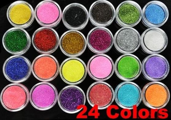 best selling Echootime Free Shipping 24 Colors Metal Shiny Glitter Nail Art Tool Kit Powder Dust gem Nail Tools Decoration