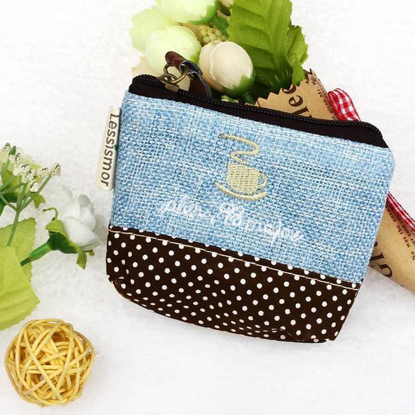 Großhandels-Neuer kleiner Segeltuch-Geldbeutel-Zip-Mappen-Münzen-Kasten-Beutel-Handtaschen-Schlüssel-Halter Bestickte Mustergeldbörsengeldbörse
