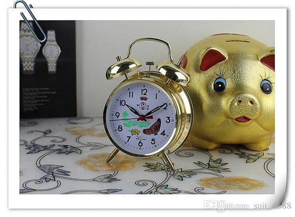 Free shipping fit to fly a small alarm clock bell metal clockwork movement full copper mute scanning machine nostalgic horseshoe table
