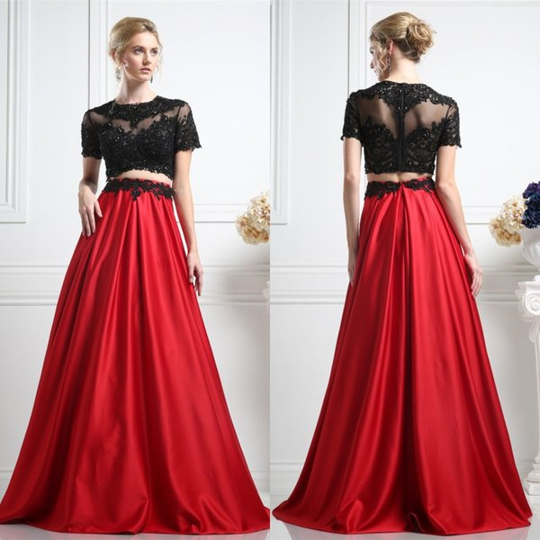 Modest 2016 Black Lace Red Stain Skirt Two Pieces Prom Dresses Long Cheap Jewel Short Sleeve Applique Beaded Floor Length Party Gown EN32410