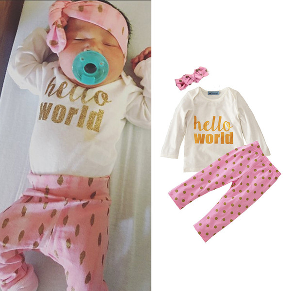 Boys Girls Clothing Sets Pink with Band Winter Autumn Spring Casual Suits Shirts Pants Hat Infant Outfits Kids Tops & Shorts 0-24M