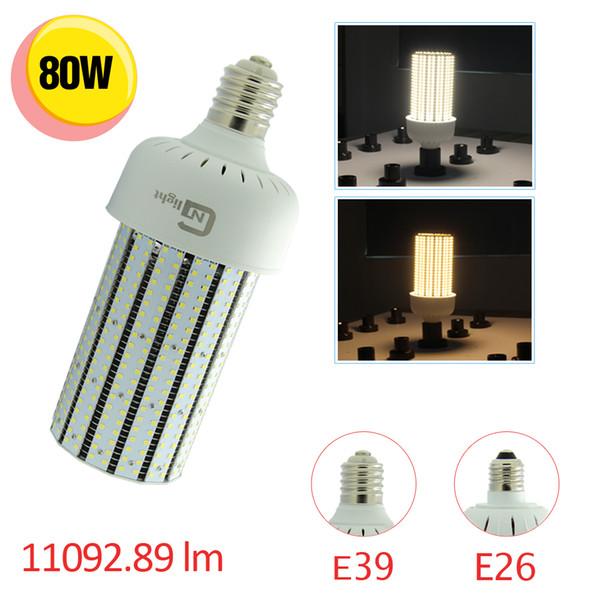 Venta al por mayor 12PCS / Lot 250W Metal Halide / HPS Replacement 80W LED lámpara del bulbo del maíz E39 E40 Mogul Base Pole Fixture Light