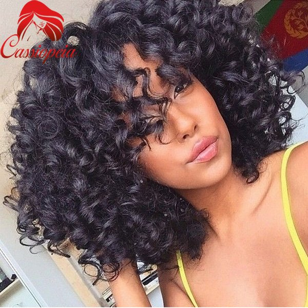Bouncy Curly 180 Density Full Lace Wigs with Bangs Virgin Peruvian Human Hair Lace Front Wigs Curly For Black Women Free Shipping