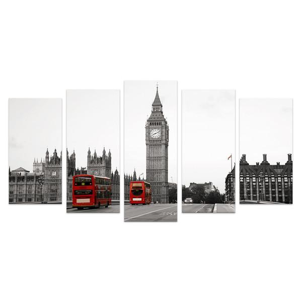 5 Pezzi HD Stampato The Big Ben London Landscape Canvas Pittura In Bianco e Nero Immagine della parete per Soggiorno No Frame / VA170814-6
