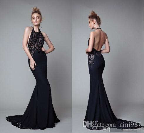 Gorgeous Black Mermaid Evening Dresses Berta 2017 Sexy Halter Open Back Beaded Lace Evening Gowns Formal Prom Dresses Evening Cloth