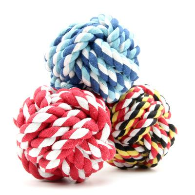 Interactive Wholesale Pet Dog Toys Dual Rope Ball Dog Cat Bite Toy For Small Medium Pets Material Drop Shipping Random Color 100pcs/ lot