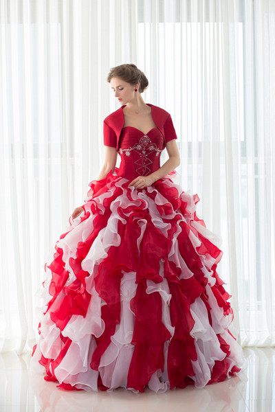 Real Picture In Stock With Jacket Organza Quinceanera Dresses Ruffles Floor-length Beaded Sweet 16 Prom Dresses Designer Occasion Dresses