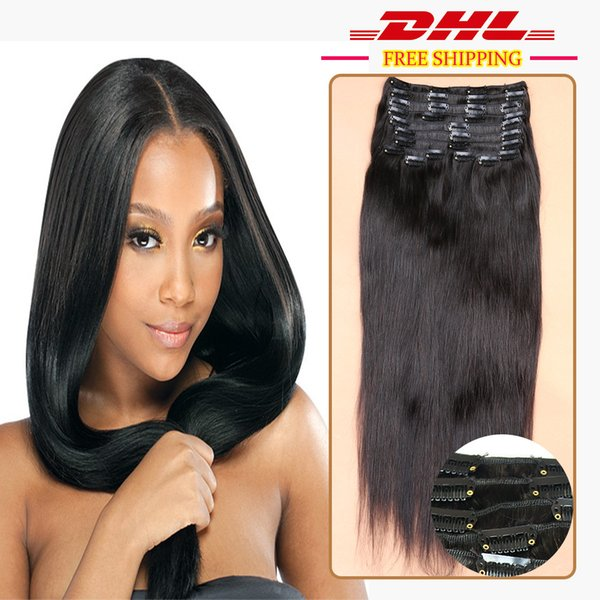 top popular DHL Free Grade 7A 100% Remy Natural Clip In Human Hair Extensions Brazilian Virgin Hair Clip In Extension Straight 9Pcs set 120g 2019