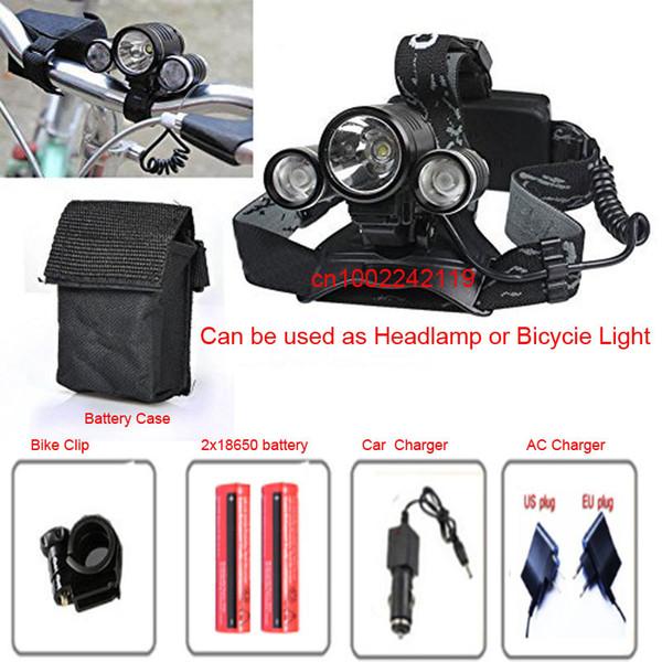 6000 Lumen XM-L T6+2R2 LED Rechargeable Head Torch 3Mode Headlamp Flashlight Head Light+2x 18650 Battery &Charger
