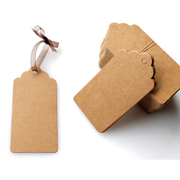 Wholesale- 100Pcs DIY Kraft Paper Tags Brown Lace Scallop Head Label Luggage Wedding Note Blank price Hang tag Kraft Gift 5x3cm