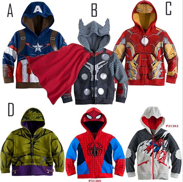 top popular .Children Hoodies JACKET BABY Boys Captain America Hoodies Jacket Avengers Hulk thor iron man Superhero cosplay Kids hoodie jacket 2019