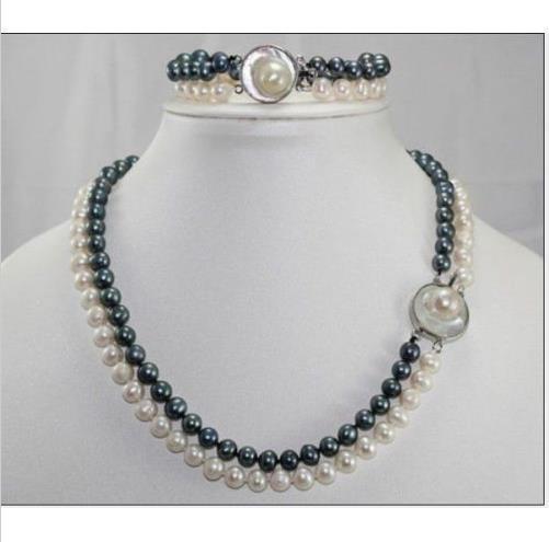 Gros livraison gratuite --- 2016 nouveau 2 ROW 8-9mm mer du Sud blanc + noir collier de perles 18 polegada + bracelet ensemble, le meilleur cadeau de Saint-Valentin m
