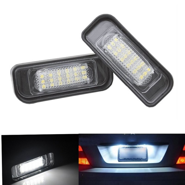 2pcs 18 LED Error Free Number License Plate Light Car Bulbs Auto Lamp Car Accessories Fit For Mercedes Ben z W220 S320 S420 S430