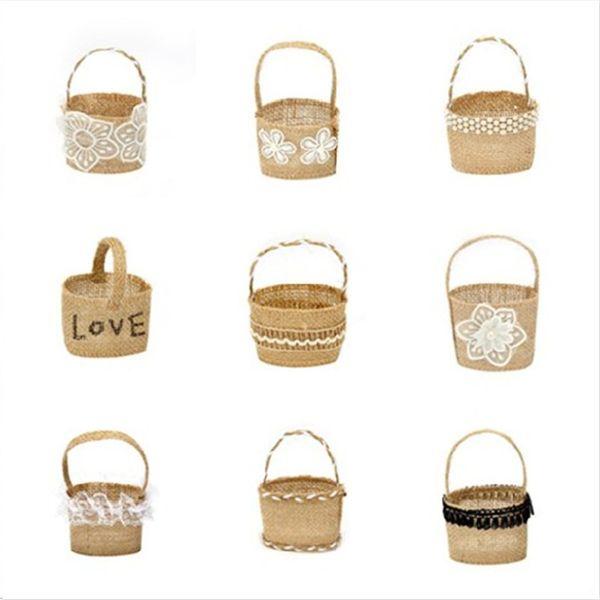 Nueva cesta de la muchacha de flor de la boda del cordón de la arpillera para la cesta de almacenamiento de la decoración de la boda que cuelga la cesta 200pcs / lot IC688