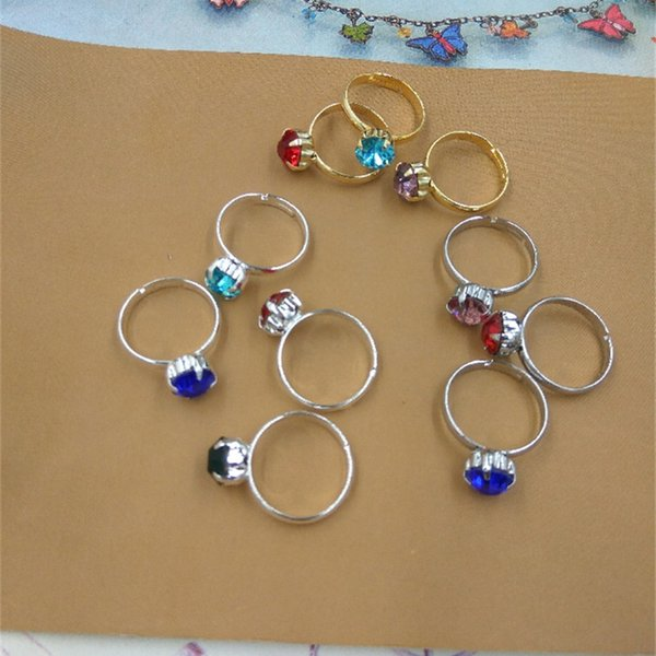 BOYUTE 3 Colors Bulk Sale Mix Rhinestone Color Jewelry Ring Fashion Adjustable Simple Ring for Women