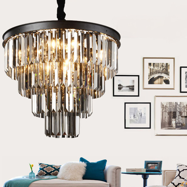 American black iron art crystal chandeliers chandelier chandelier light fixtures bedroom lamp, smoke gray crystal lamp