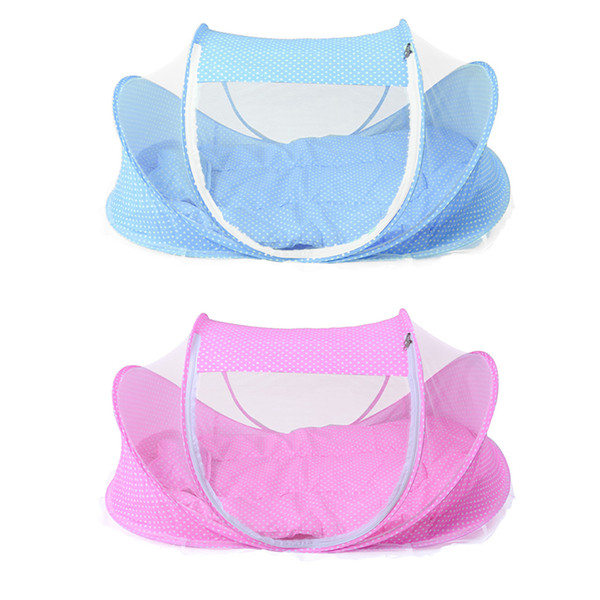 Wholesale- 4PCS/SET Baby Crib Baby Bed With Pillow Mat Set Portable Foldable Crib With Netting Newborn Infant Bedding Sleep Travel Bed
