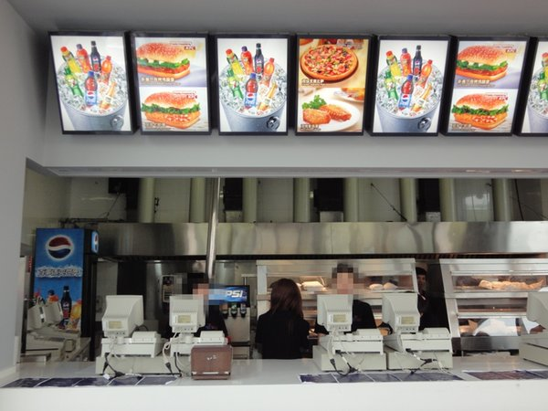 A2 Fast Food Restaurant Menu Display Systems,16MM Thickness Aluminum Profile LED Illuminated Menu Board Light Box