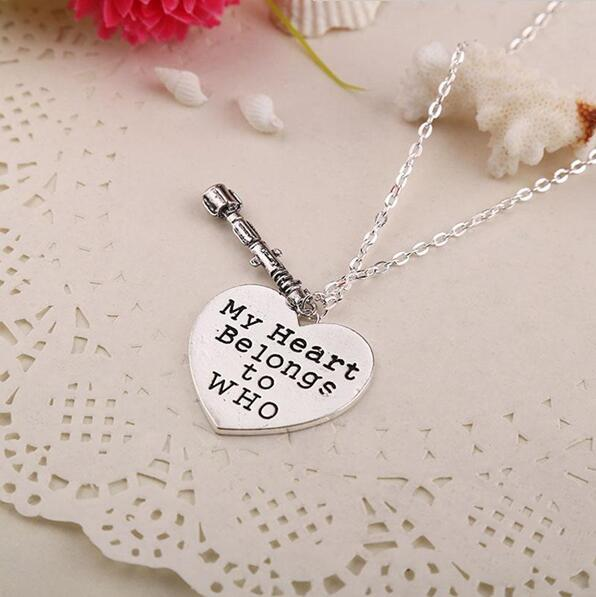 Retro Doctor Who Necklace Heart Pendant Necklace My Heart Belongs to Who Necklace Sonic Screwdriver Heart Pendant