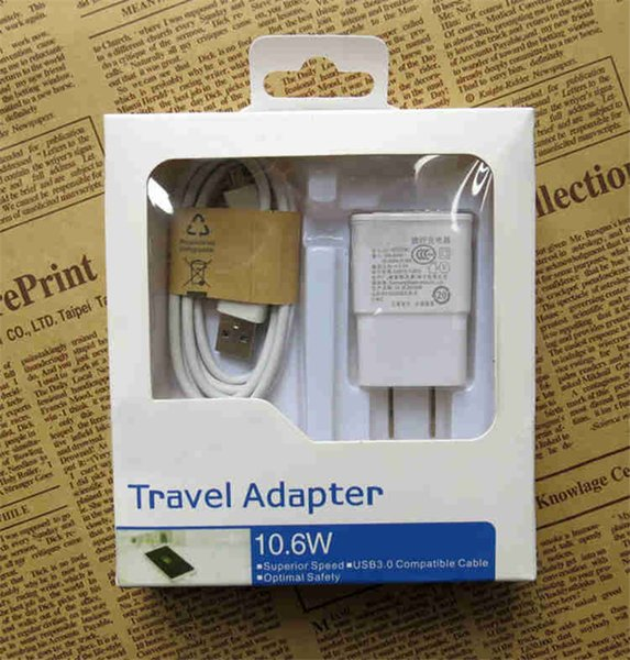 top popular 2 in 1 Charger Kits USB 2.0 EU US Plug Wall Charger Adapter For Samsung S4 S3 S5 S6 Smart phone COPY 2021