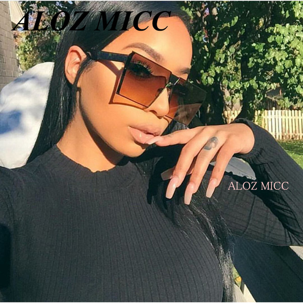ALOZ MICC Diseñador de la marca Mujeres gafas de sol cuadradas de los hombres Escudo de gran tamaño UV400 Gradient Vintage Gafas Marcos para mujeres A014