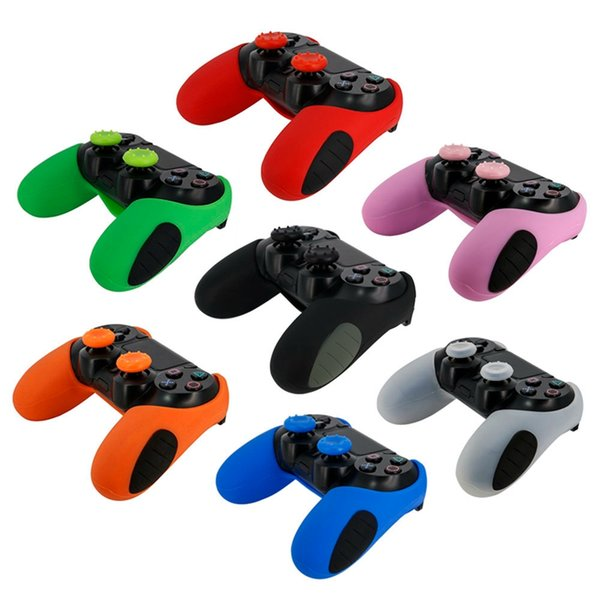 best selling For PS4 Gamepad Silicone Cover Rubber Half Skin Case Protective Cover with 2 x Thumb Grip for Playstation 4 Controller Controle Joystick