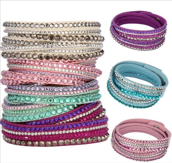 400pcs Multilayer Wrap Bracelets Slake Deluxe Leather Charm Bangles With Sparkling Crystal Women Sandy Beach Fine Jewelry Gift D952