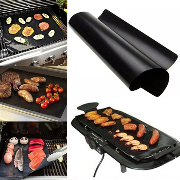 best selling Barbecue Grilling Liner BBQ Grill Mat Portable Non-stick and Reusable Make Grilling Easy 33*40CM 0.2MM Black Oven Hotplate Mats