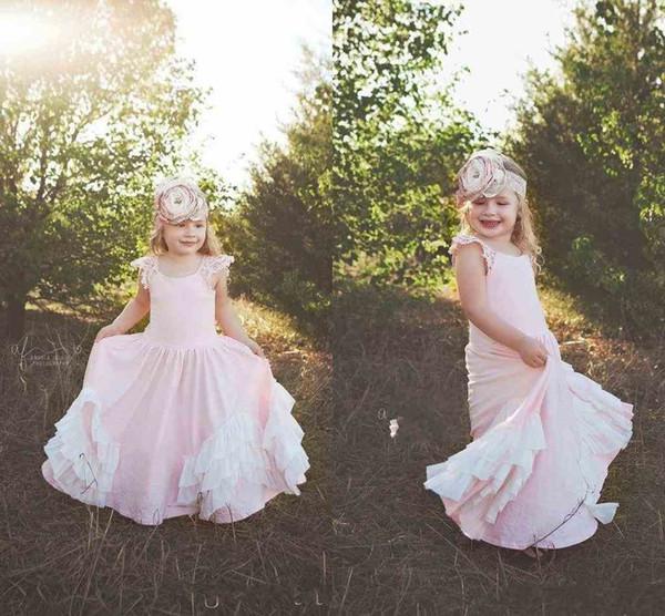Pink Baby Sweety 2020 Princesa Flor Girls Dress Spaghetti mangas Zipper Império laço hierárquico Saias Andar de comprimento Comunhão aniversário vestido