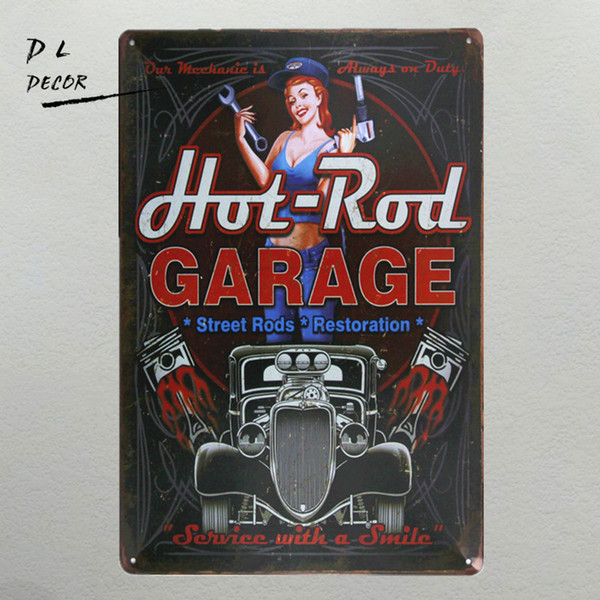 DL- hot rod garage Metal Sign vintage crosses wall decor Home Decor pin up poster antique tray house rules wall art