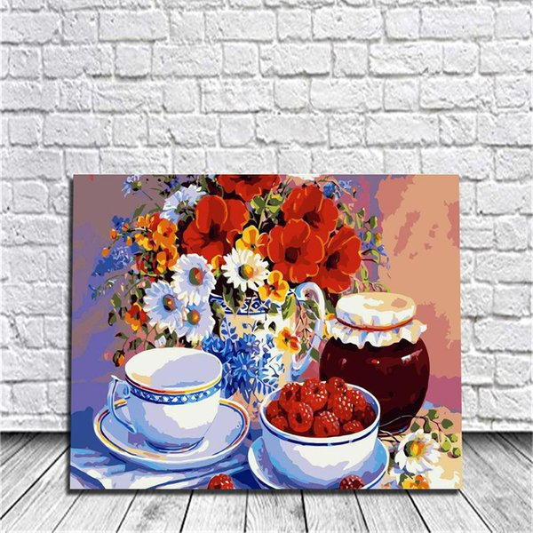 Framed On Canvas Diy Digital Oil Painting By Numbers Wall Flowers And Wild Strawberries Painting Acrylic Painting Hand Painted Home Decor