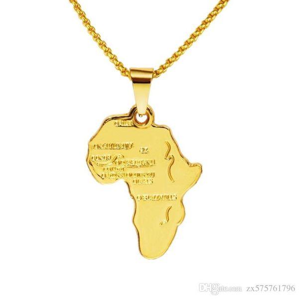 Fashion Male Rock Micro Rap Hip Hop Necklace Gold Charms Map Pendant Design Mens Jewelry 29.5inch Box Chain Punk Men Necklaces