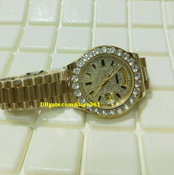 Christmas gift swiss Luxury watches top brand Automatic 18K Yellow Gold President Pave big Diamond Dial/Bezel