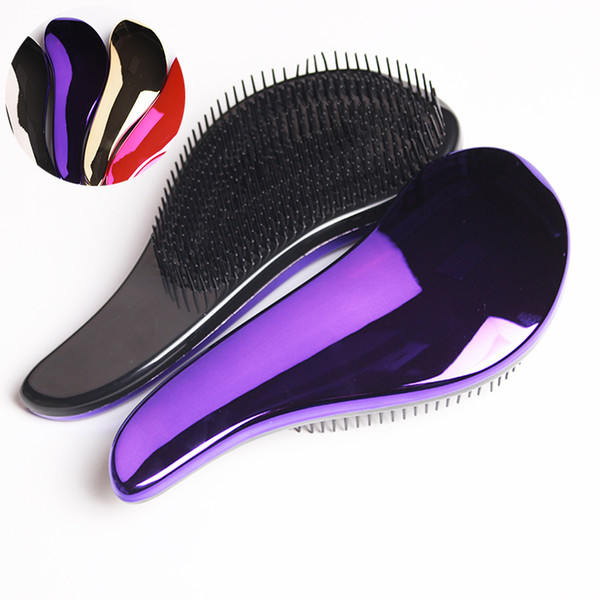 1pc Magic Anti-static Hair Brush Handle Tangle Detangling Comb Shower Electroplate Massage Comb Salon Hair Styling Tool New Quality Wholesal