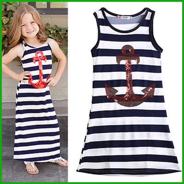 2016 top fashional style girls navy anchor sleeveless striped dresses children kids sequined blue white stripes party vestidos free shipping