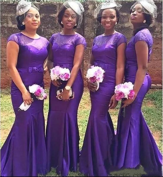 Южная Африка длинные платья невесты 2018 Sheer Jewel шеи с бантом ленты фрейлина платья страна формальные свадебные платья для гостей